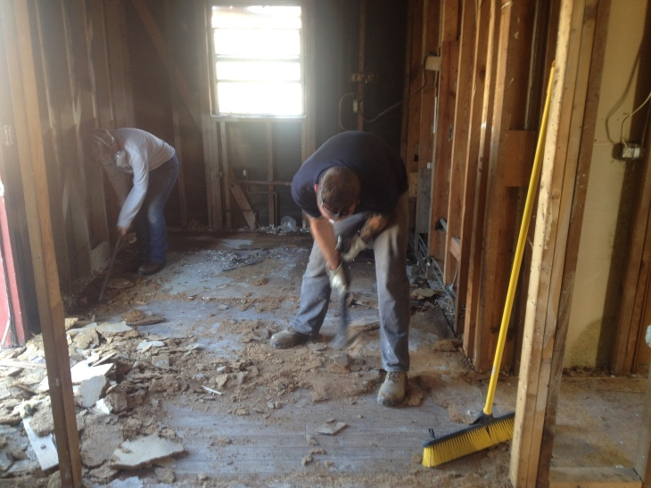 Christine and Stephen (Thor) tearing up the flooring.