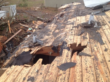 Roof damage from the Oak tree.