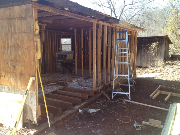 Rotted wall/joist removal